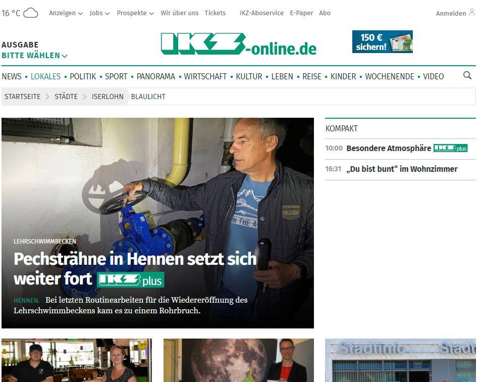 IKZ-Bericht: Rohrbruch im Lehrschwimmbecken